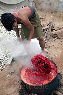 Dyeing rope for camel bridles, Pushkar, Rajasthan, India