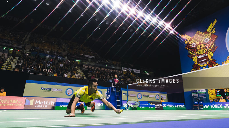 YONEX-SUNRISE Hong Kong Badminton Open Men's Single Shi Yuqi CHN v Lin Dan CHN at Hong Kong Coliseum on November 24, 2017. (Lampson Yip/Clicks Images)