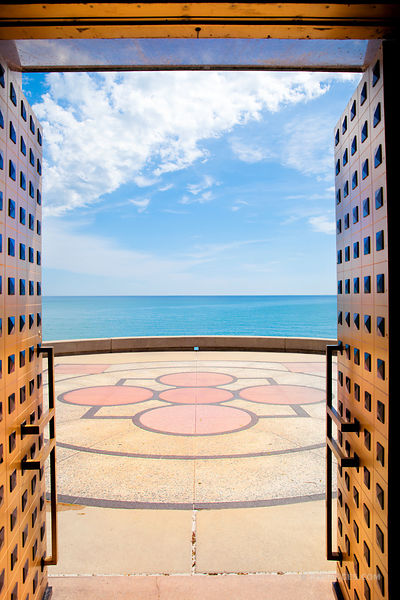 LAKE MICHIGAN DOOR MADONNA DELLA STRADA CHAPEL LOYOLA UNIVERSITY CAMPUS CHICAGO ILLINOIS COLOR