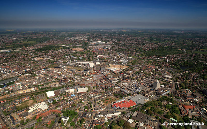 Panoramic aerial photograph of  Walsall West Midlands ,  England UK