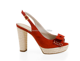 Women's red suede shoe with high heels