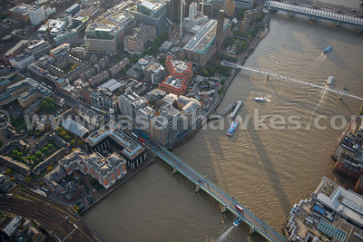 Aerial view of Southwark Bridge and the Tate Modern, London