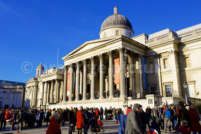 The very Grand National Gallery Building in Trafalgar Square, London