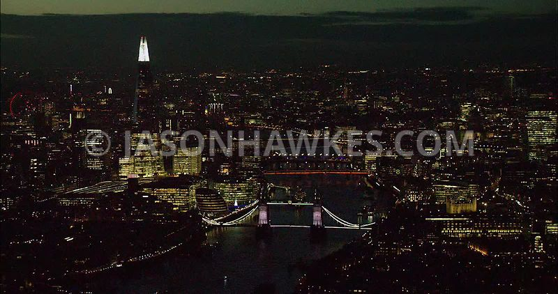 London night aerial footage, The Shard and Tower Bridge.