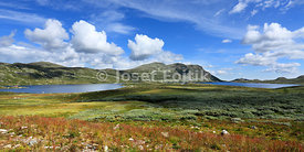 Landscape under Gaustatoppen Mountain with the Heddersvatn Lake, Telemark, Norway