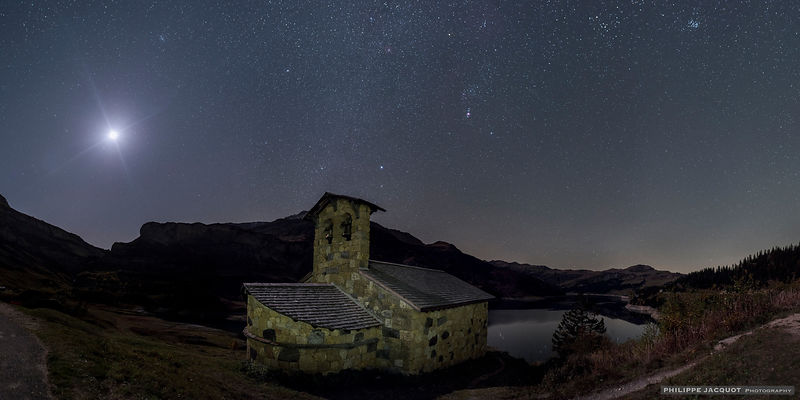 Chapel between Moon and Orion - Roselend