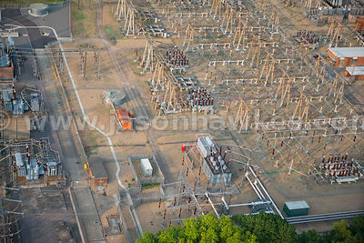 Aerial view of electricity pylons National Grid Elstree 400kv Substation, Watford