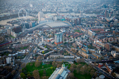 Aerial view of the Imperial War Museum and Waterloo Station, London