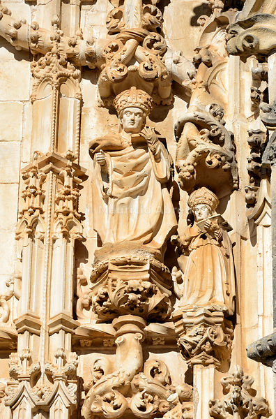 Sculptures at the main entrance of the Charola. With its origin in the 12th century, it was the Templar Knight's oratorium within the Convent of Christ. a UNESCO World Heritage Site. Tomar, Portugal