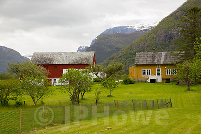 Yellow, Red & White Timber Buildings in Rural Norway