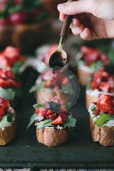 Strawberry and Ricotta Bruschetta with Balsamic Reduction