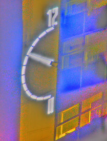 University of Derby Clock, HDR creative with ghosting removed.