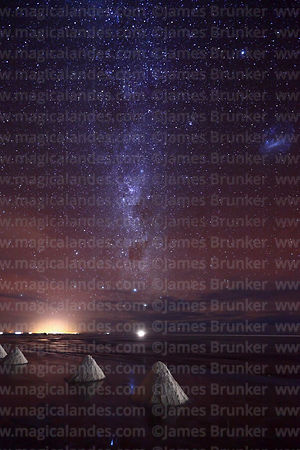 Salt cones, Milky Way and Large Magellanic Cloud, Salar de Uyuni, Bolivia