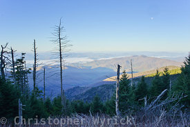 This view from the Clingman's Dome area shows Fontana Lake in the distance shrouded in mist.