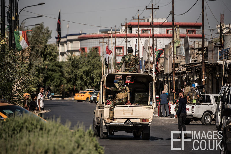 Hashd al Shaabi troops drive through the turkman area of Kirkuk the day after they took the city from the Kurdish Peshmerga in fewer than 24 hours during an offensive instigated by the Iraqi Government in retaliation to the Kurdish Independence referendum held on the 25th September. Kirkuk, Iraq, 17th October 2017