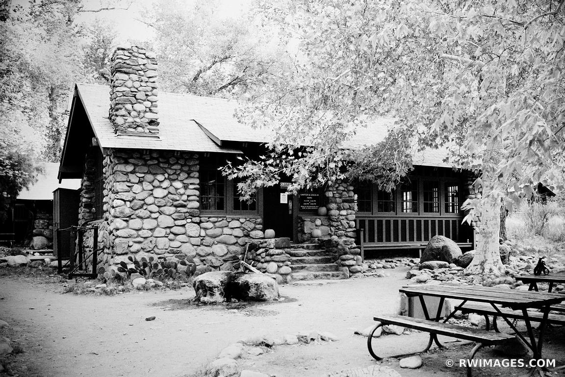PHANTOM RANCH CANTINA INNER CANYON GRAND CANYON NATIONAL PARK BLACK AND WHITE