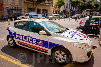 National Police Car parked in the Street in Mardseilles, France