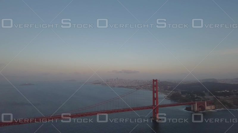 San Francisco Golden Gate Bridge Morning Flying Towards city wide shot