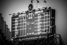 Wrigley Field Scoreboard Sign in Black and White