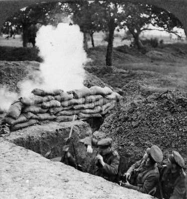 British soldiers take under fire in trench during WWI
