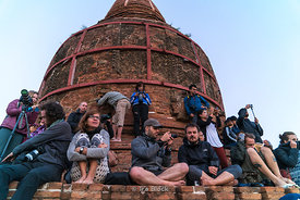 Tourist waiting for sunrise at Bulethi in Bagan, Shan State, Myanmar.