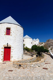 Pandeli Castle and windmills, Leros, Dodecanese Islands, Greece.