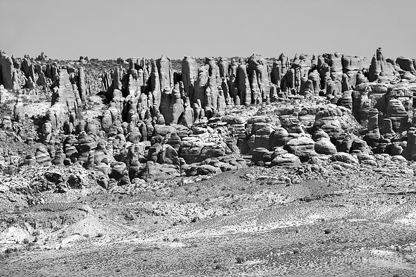DEVIL'S GARDEN SPIRES ARCHES NATIONAL PARK UTAH BLACK AND WHITE