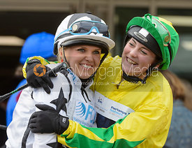 Catherine Mills and Jasean Spraggett in the Parade Ring - Champions Willberry Charity Flat Race - Cheltenham Racecourse, April 20th 2017