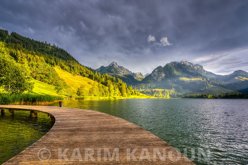 schwarzsee lake, deck and mountains - Fribourg
