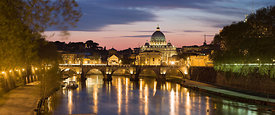 St Peter basilica, St Angel bridge and Arno river at twilight, Rome