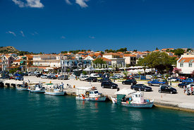 Fishing boats moored in harbour, Lixouri, Kefalonia, Ionian Islands, Greece.