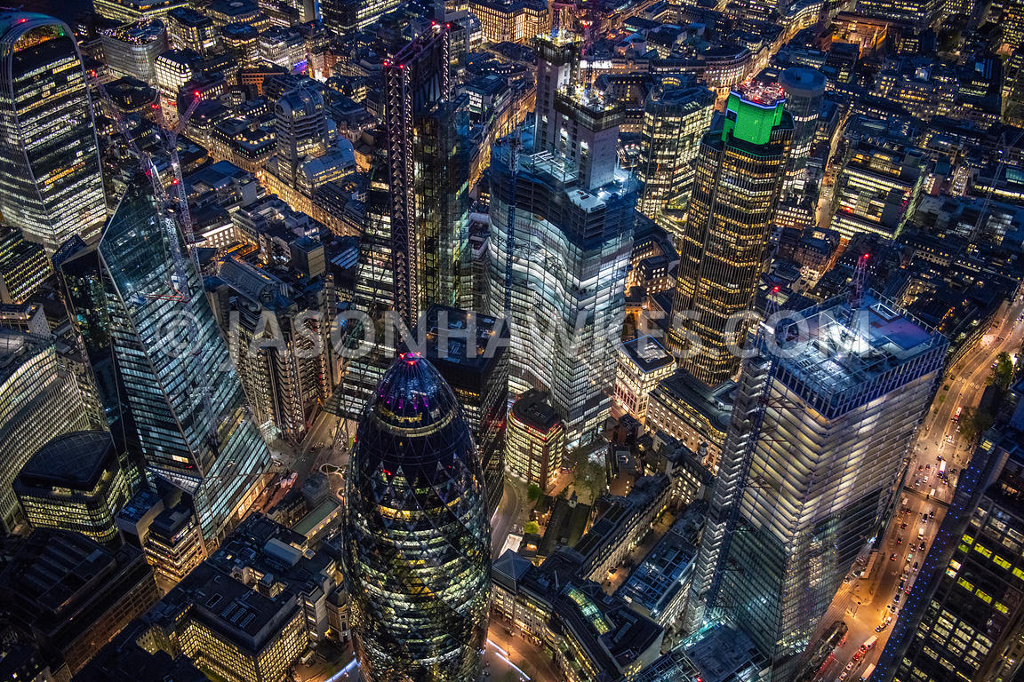 The City of London at night, aerial view.