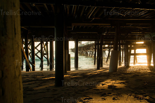 The golden light of the setting sun filters underneath the pier
