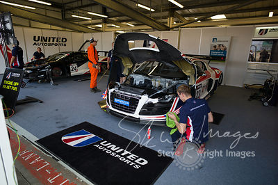 In the United Autosports garage, pre-race, at the Silverstone 500 - the third round of the British GT Championship 2014 - 1st June 2014