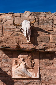 Sculpture and Skull above Entrance Door at Hubbell Trading Post
