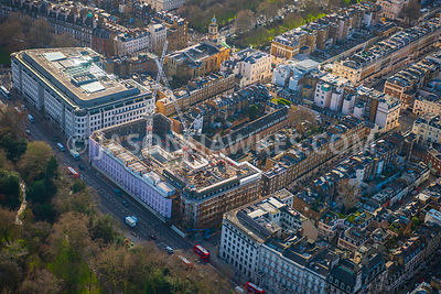 Aerial view of London, from Green Park towards Belgravia and Eaton Square.