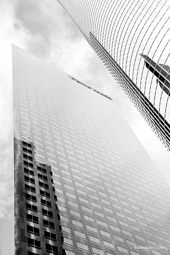 FINANCIAL DISTRICT DOWNTOWN LOS ANGELES MODERN ARCHITECTURE BLACK AND WHITE VERTICAL