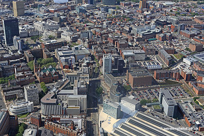 aerial photograph of Piccadilly Manchester England UK