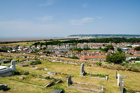view of weston-super-mare from St Nicholas church, Uphill hill, Somerset, England.