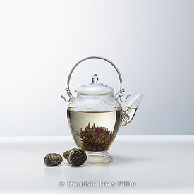 A glass teapot with Lotus Flower tea.