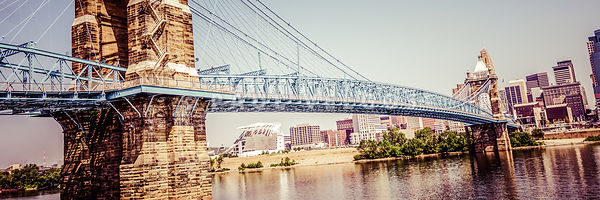 Cincinnati Bridge Retro Panorama Photo