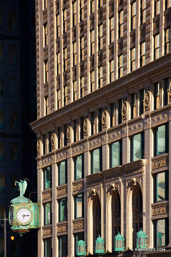 CHICAGO DOWNTOWN ARCHITECTURE CLOCK CHICAGO ILLINOIS COLOR VERTICAL