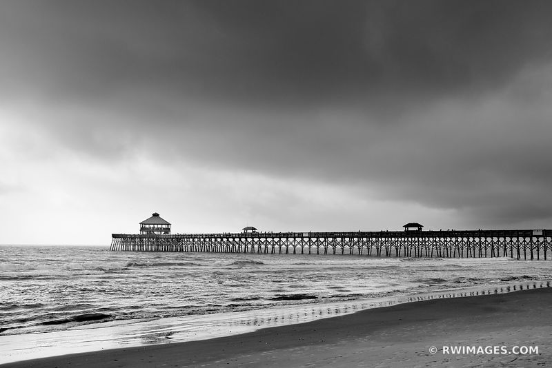 FOLLY BEACH PIER CHARLESTON SOUTH CAROLINA BLACK AND WHITE