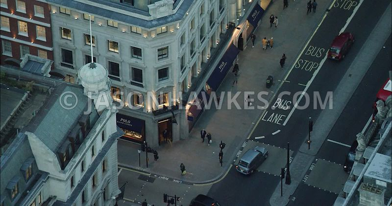 London Aerial Footage of shops on Regent Street.