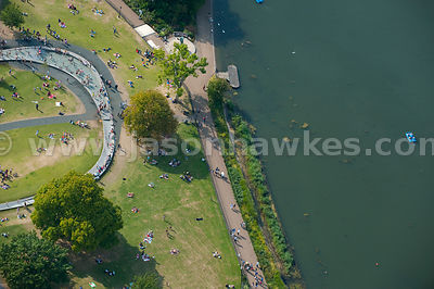 Aerial view of London, Kensington Gardens.