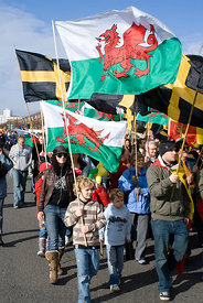St Davids Day Parade, Cardiff Bay, Cardiff, South Wales.
