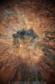 Aerial of cone volcano near Erte Ale in Ethiopia