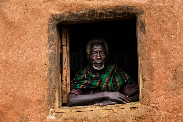 Portrait of an Elderly Ari Man in a Window in his Home