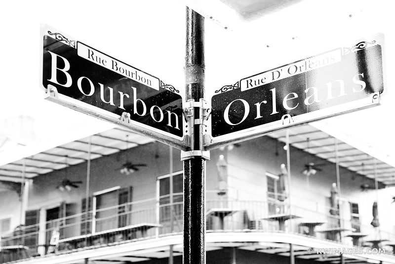 BOURBON STREET SIGN FRENCH QUARTER NEW ORLEANS BLACK AND WHITE