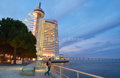 Vasco da Gama Tower, the highest building in Portugal, and Myriad Sana Hotel, overlooking the Tagus river, in the Parque das Nações district. Lisbon, Portugal (MR)